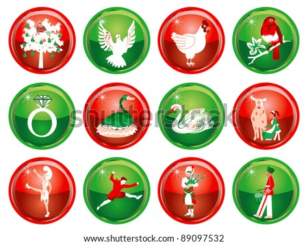 Raster version Illustration Card of the 12 days of Christmas buttons.