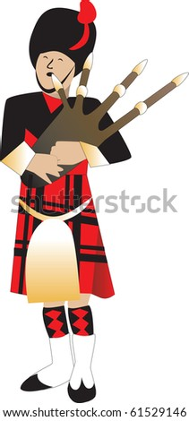 Raster version Illustration cartoon of a bagpiper piping.