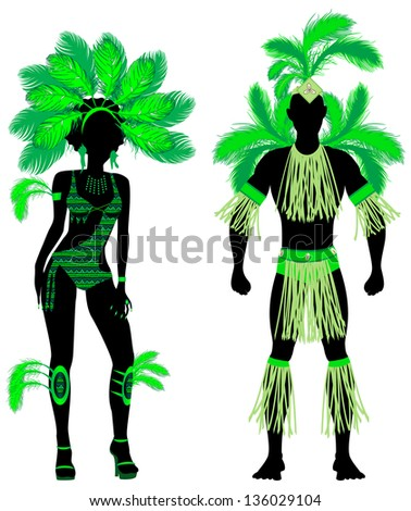 Raster version Illustration Couple for Carnival Green Costume Silhouettes with a man and a woman.