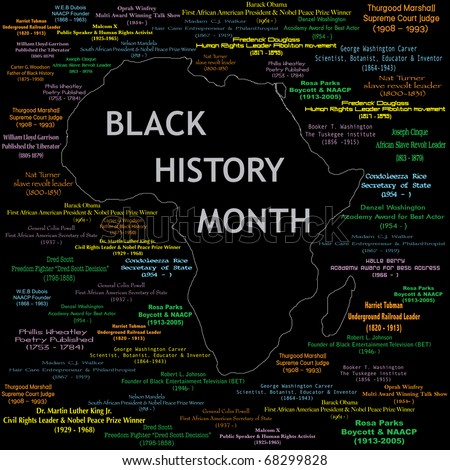 Raster version Illustration for black history month including names, time periods and what each person did. See others in this series. Makes a great poster large print.