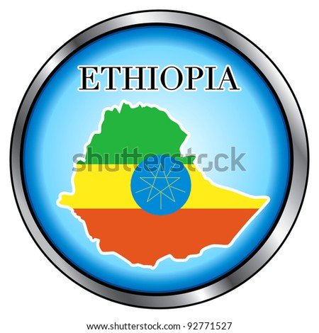Raster version Illustration for the country of Ethiopia Round Button.