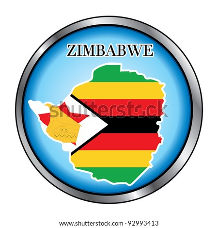 Raster version Illustration for the country of Zimbabwe Round Button.