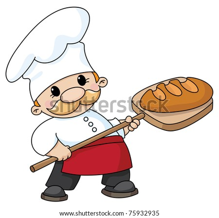 raster version illustration of a baker with bread