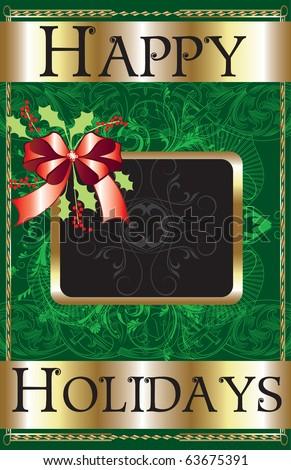 Raster version Illustration of a Happy Holidays Ribbon Poster. - stock photo