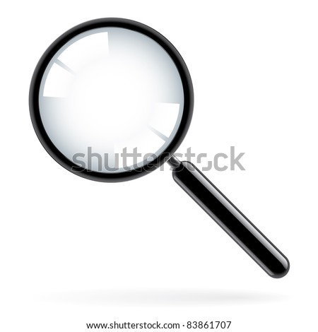 Raster version. Illustration of a magnifying glass over white background
