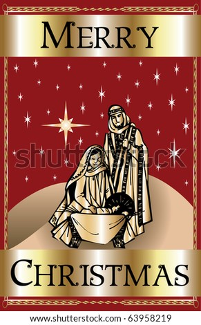 Raster version Illustration of a Merry Christmas Red Nativity.