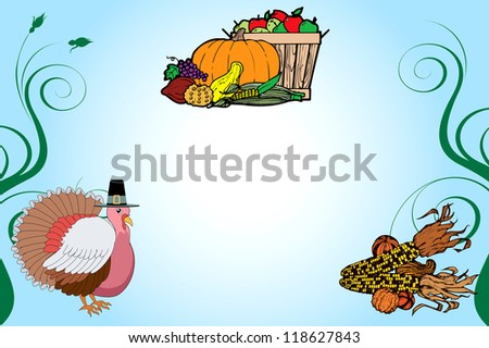 Raster version Illustration of a Thanksgiving Turkey Background with fruit basket and corn.