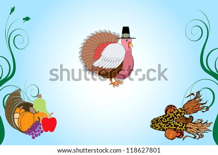 Raster version Illustration of a Thanksgiving Turkey Background with pumpkin and corn.