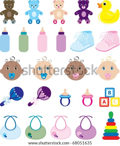 Raster version Illustration of 25 baby isolated icons.