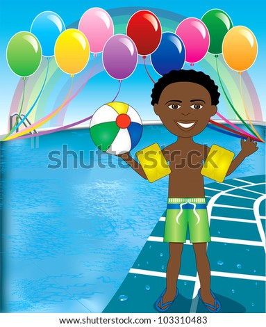 Raster version Illustration of Ball Boy at pool party with balloons and beach ball.