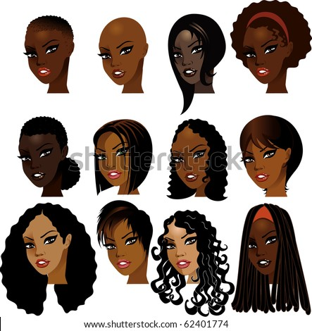 hairstyles for medium length natural hair : Raster version Illustration of Black Women Faces. Great for avatars ...