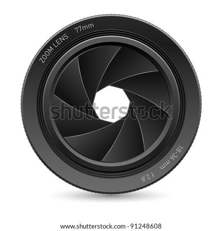 Raster version. Illustration of camera lens, on white background for design