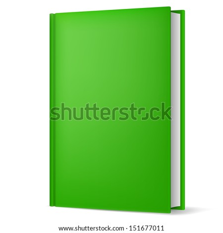 Raster version. Illustration of classic green book in front vertical view isolated on white background.