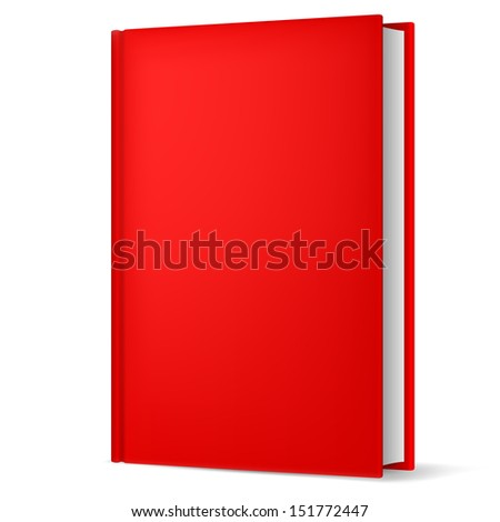 Raster version. Illustration of classic red book in front vertical view isolated on white background.
