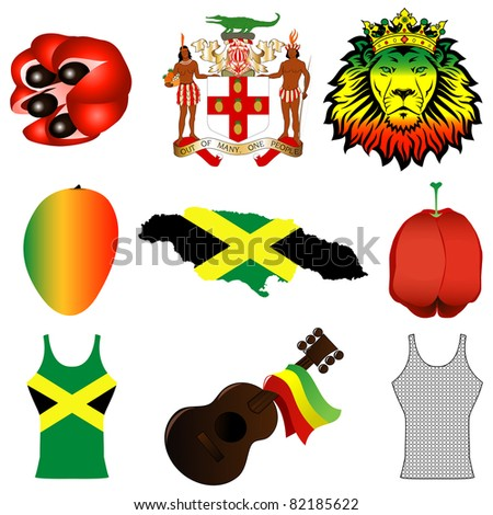 Raster version Illustration of 9 different Jamaican icons.