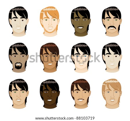 hairstyles for medium length natural hair : Raster version Illustration of 12 different long Straight Hair Men ...