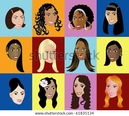 Raster version Illustration of 12 different women, available in other versions.