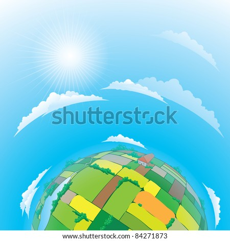 Raster version.  illustration of earth globe with agricultural fields