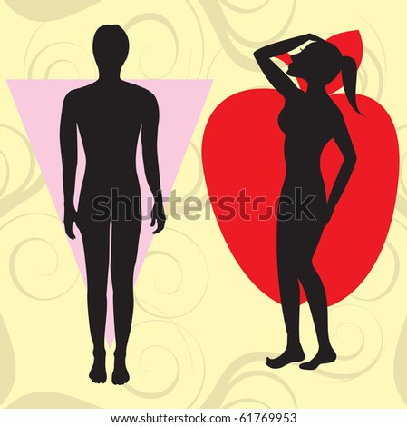 Raster version Illustration of female body shape apple also known as cone. Shape with wider upper body and narrow hips.