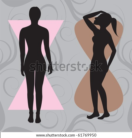 Raster version Illustration of female body shape hourglass. Shape with balanced curves.