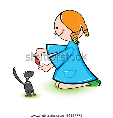 Raster version. Illustration of girl with cat on a white background