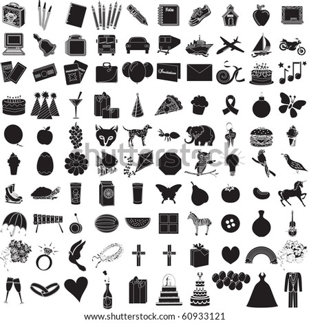Raster version illustration of 100 Icon set 1. - stock photo