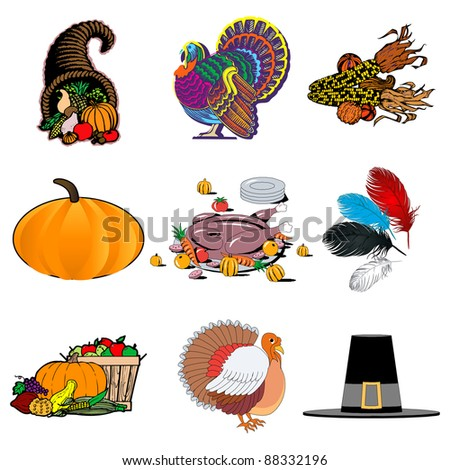 Raster version illustration of 9 icons. Thanksgiving Icons 1