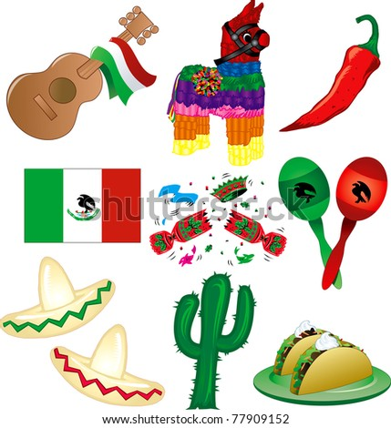 Raster version Illustration of 9 Mexican party icons