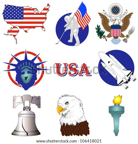 Raster version Illustration of nine American History Icons.