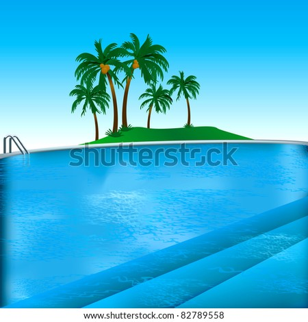 Raster version Illustration of pool background with inviting steps.