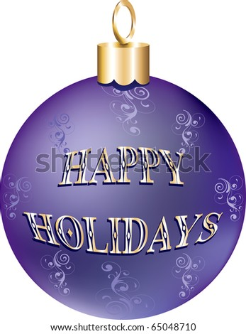 Raster version Illustration of purple gold happy holidays ornament isolated.