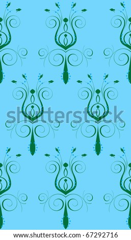 Raster version Illustration of seamless background. Blue Green Abstract Flower