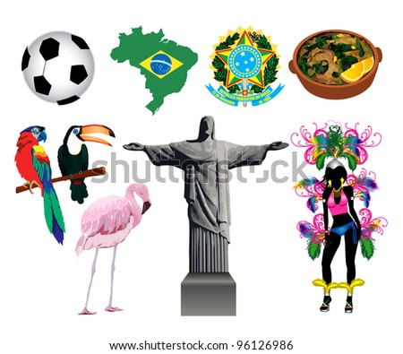 Raster version Illustration of several Brazilian icons and symbols.