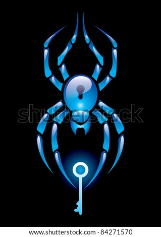 Raster version.  illustration of spider with the key on black background