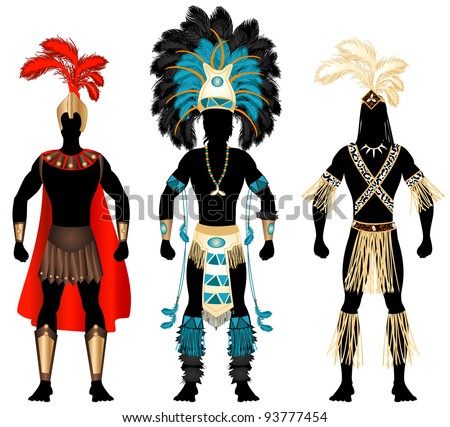 Raster version Illustration of three male Costumes for Festival, Mardi Gras, Carnival, Halloween or more.