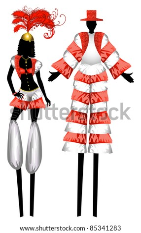 Raster version Illustration of two Moko Jumbies also known as stiltwalkers.