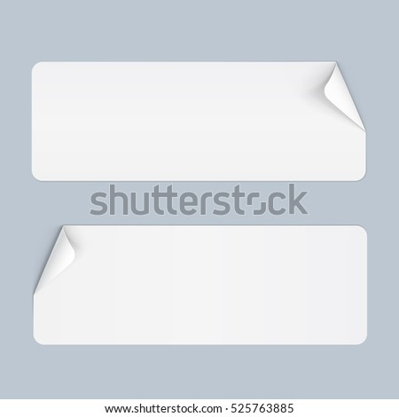 Raster version. Illustration of Two Stickers with Bended Coner on Blue
