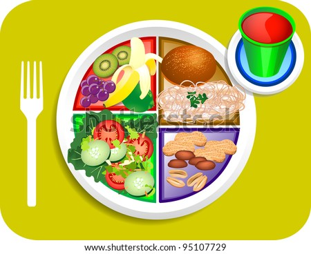 Raster version illustration of Vegan or Vegetable Lunch items for the new my plate replacing food pyramid.