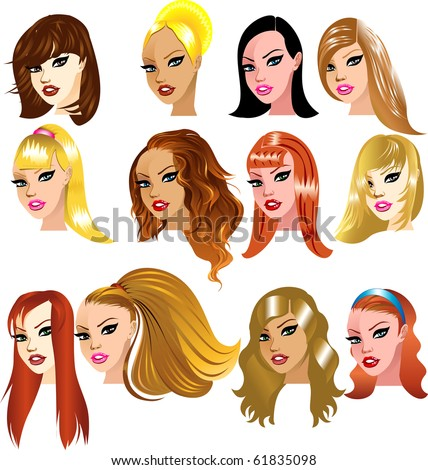 hairstyles for medium length natural hair : Raster version Illustration of White Women Faces. Great for avatars ...