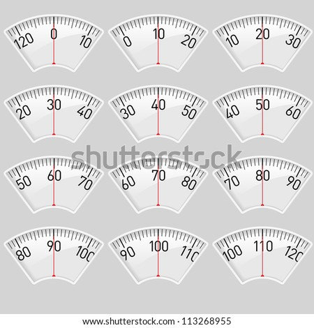 Raster version. Illustration set of a Scale for a Weighing Machine