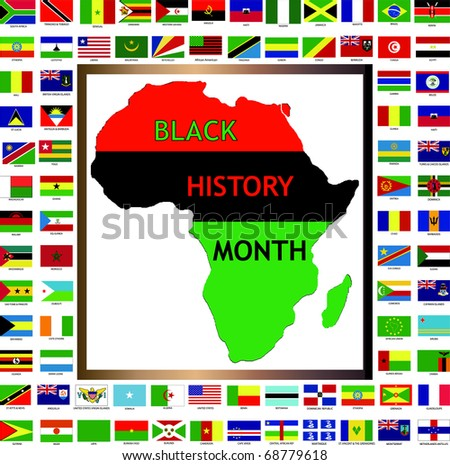 Raster version Illustration showing African and black cultured flags for Black History Month.
