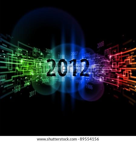 Raster version. Internet concept twenty-twelve, communication, technology-style background on black. - stock photo
