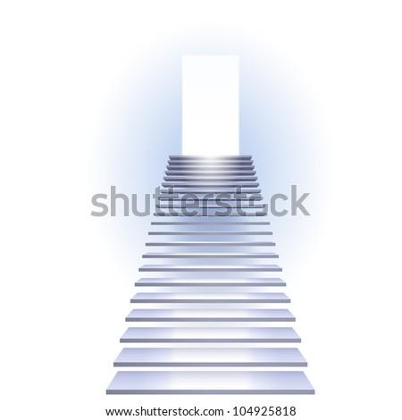 Raster version. Ladder to success. Illustration on white background.