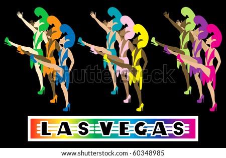 Raster version Las Vegas Showgirl Dancers performing with high kicks.