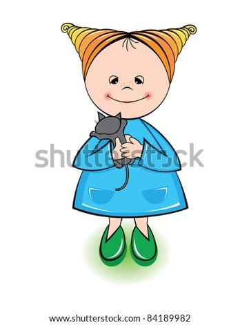 Raster version. Little girl holding a kitten isolated on white