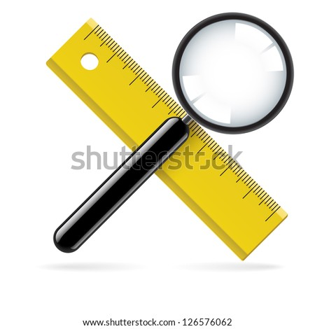 Raster version. Magnifying glass and ruler. Illustration on white background