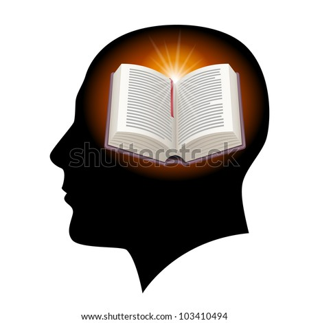 Raster version. Male head silhouette with open book. Illustration on white.