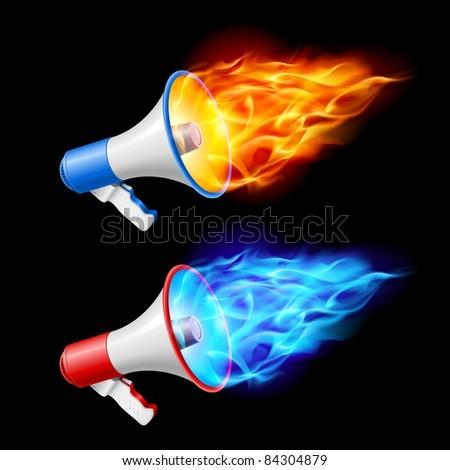Raster version. Megaphones in red and blue flame. Illustration on black background