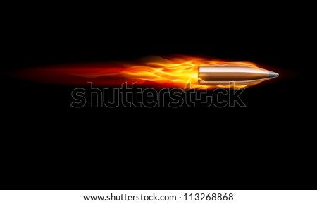 Raster version. Moving Red Fiery Gun Bullet Shot. Illustration on black