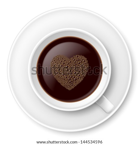 Raster version. Mug of coffee with foam and saucer. Illustration on white